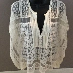 """White Lacey """"square"""" top"""